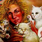 Artist and 3 Cats, One Biting Hand That Feeds by Barbara Sparhawk