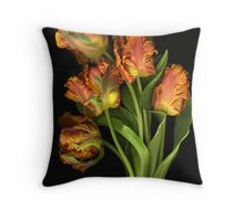 A Flight of Parrots Throw Pillow