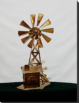 metal (copper) windmill music box by Penny Rinker