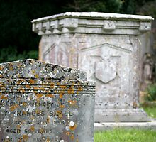 Headstone and crypt in Clayton Churchyard, Sussex by Maxine Collins