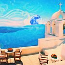 Santorini town Greece art by Adam Asar