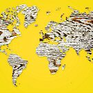 Yellow Map of The World - World Map for your walls by DejaVuStudio