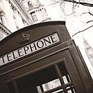 London Telephone Booth B&W by Gisele  Morgan
