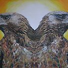 Twin Eagles, 2000 (colour pencil) by stronsayart