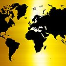Gold And Black Map of The World - World Map for your walls by DejaVuStudio