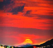 sunset at mystical mount fuji japan  crayons by Adam Asar