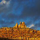 Last sunlight on rock walls, Utah by Claudio Del Luongo