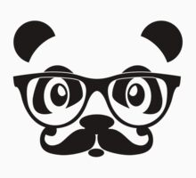 Panda geek with mustache by Cheesybee