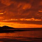 Fiery Beach Sunset by fotosic