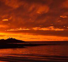 Fiery Beach Sunset by fotosic