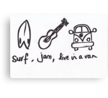 Surf Jam Live in a van Canvas Print