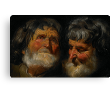 Two studies of the head of an old man, c.1630 Canvas Print