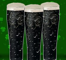 St. Patrick's Day Card With Three Pints of Irish Dry Stout Beer by Moonlake