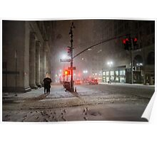 Winter Romance - Snowy Night in New York City Poster