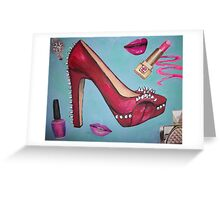 Spike Red Heel Pump Girl Greeting Card