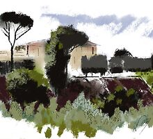 Tuscan Landscape I by MicheleBrownArt