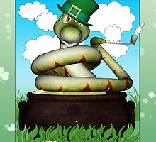 St. Patrick's Day Card With Fun Snake Sat In A Pot Of Gold by Moonlake