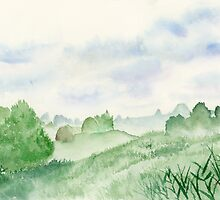 Foggy Green Field, Art Watercolor Painting print by Suisai Genki by suisaigenki