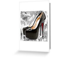 Black & White Red Bottom Abstract Digital Art Greeting Card