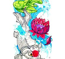 koi and lotus iPhone case by Ashley Peppenger