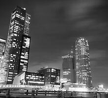 Rotterdam by Night in Black & White by lukepricephotos