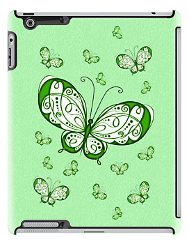 Green Butterflies .. iPad case by LoneAngel