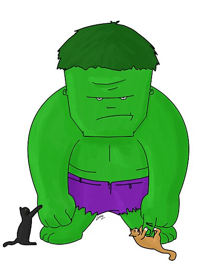 Cat Rescuing Superheroes : Hulk by zombieCraig