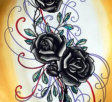 yellow and black rose, tattoo flash by resonanteye