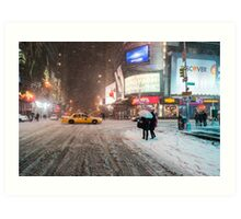 Times Square in the Snow - Winter in NYC Art Print