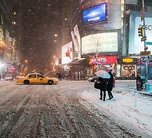 Times Square in the Snow - Winter in NYC by Vivienne Gucwa