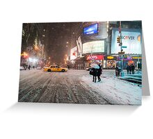 Times Square in the Snow - Winter in NYC Greeting Card