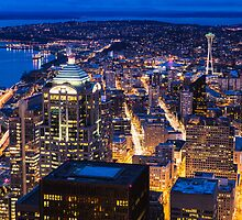 Twilight over Downtown and Northwest Seattle by Jim Stiles