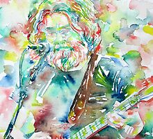 JERRY GARCIA PLAYING the GUITAR- watercolor portrait.1 by lautir