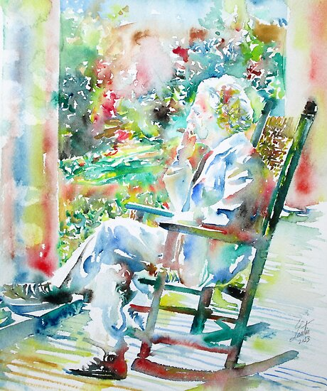 MARK TWAIN sitting and smoking a CIGAR - watercolor portrait by lautir