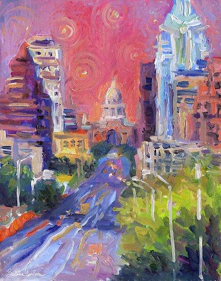 Austin Downtown art painting Congress Avenue Svetlana Novikova  by Svetlana  Novikova