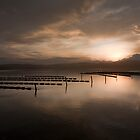 Oyster Leases Merimbula Top Lake at Sunset by DavidONeill