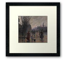 Rainy Evening on Hennepin Avenue, c.1902 Framed Print