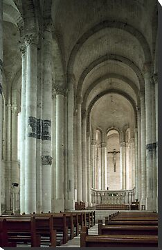Nave of Cunault and crucifix in apse 198402220022  by Fred Mitchell