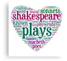 Shakespeare Word Art Canvas Print