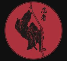 Ninja Climbing A Rope - Large by Chris Serong