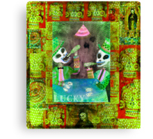 The Gamblers -  Day of the Dead  Inspired Folk Art Canvas Print