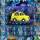 Yellow Taxi Cab - DAY OF THE DEAD ART by dayofthedeadart