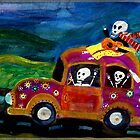 Day of the Dead hippies on a road trip by dayofthedeadart