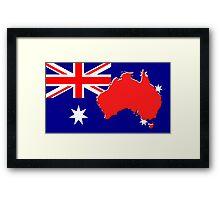The map, flag of Australia Framed Print