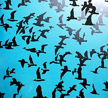 Set of silhouettes of birds on a blue background by alexmak
