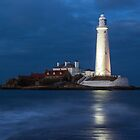 Dusk at St Mary&#x27;s Lighthouse by John Dunbar