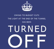 TURNED OFF tee-shirt design white letters by Gary Eason + Flight Artworks