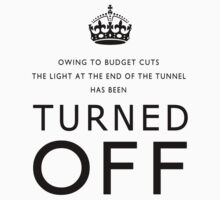 TURNED OFF T-shirt design black letters by Gary Eason + Flight Artworks