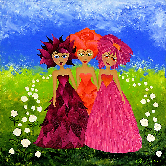 Flower Sisters by Lisa Frances Judd~QuirkyHappyArt