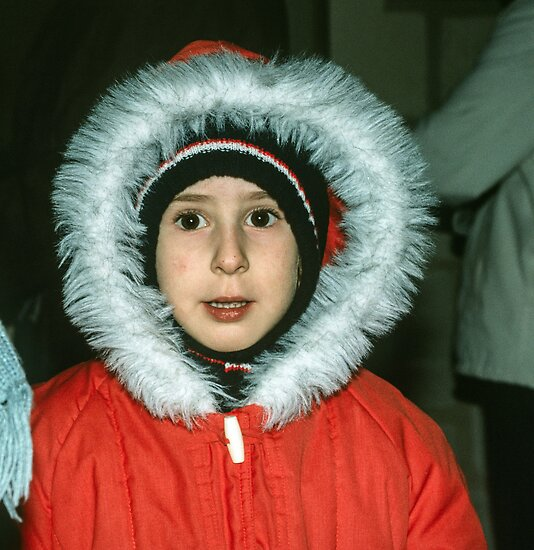 Girl in cold weather gear Museum Saumur 198402220055 by Fred Mitchell